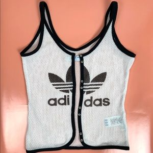 ADIDAS Retro 80s Mesh Tank Top Black & White S